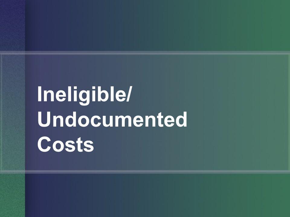 Ineligible/ Undocumented Costs