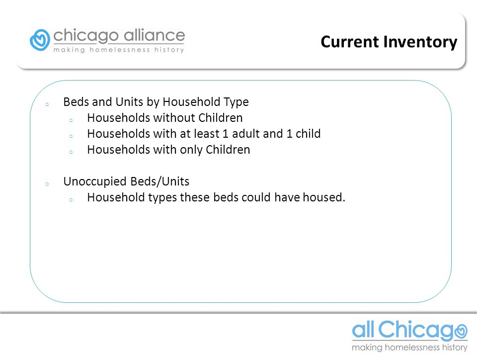 o Beds and Units by Household Type o Households without Children o Households with at least 1 adult and 1 child o Households with only Children o Unoccupied Beds/Units o Household types these beds could have housed.
