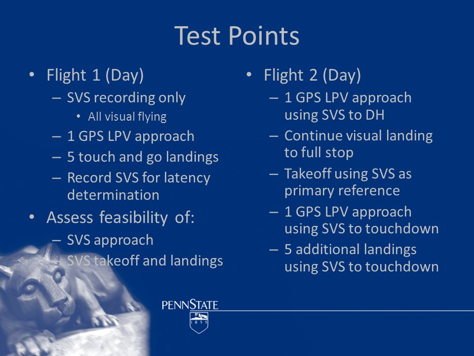 Test Points Flight 1 (Day) – SVS recording only All visual flying – 1 GPS LPV approach – 5 touch and go landings – Record SVS for latency determination Assess feasibility of: – SVS approach – SVS takeoff and landings Flight 2 (Day) – 1 GPS LPV approach using SVS to DH – Continue visual landing to full stop – Takeoff using SVS as primary reference – 1 GPS LPV approach using SVS to touchdown – 5 additional landings using SVS to touchdown