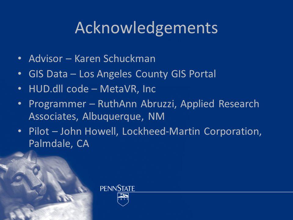 Acknowledgements Advisor – Karen Schuckman GIS Data – Los Angeles County GIS Portal HUD.dll code – MetaVR, Inc Programmer – RuthAnn Abruzzi, Applied Research Associates, Albuquerque, NM Pilot – John Howell, Lockheed-Martin Corporation, Palmdale, CA