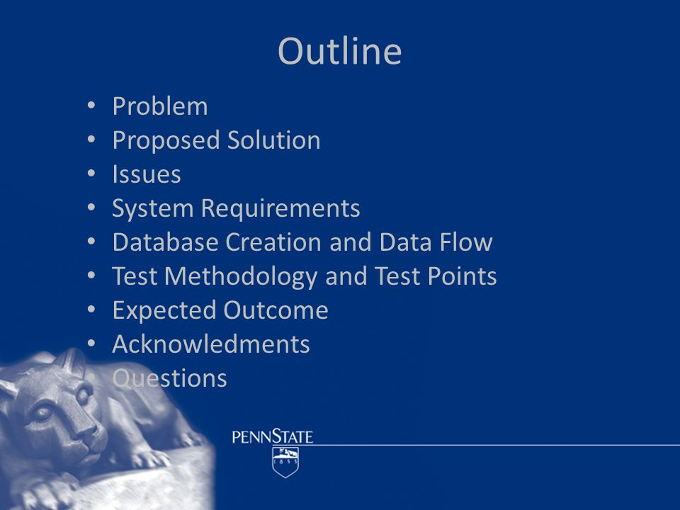 Outline Problem Proposed Solution Issues System Requirements Database Creation and Data Flow Test Methodology and Test Points Expected Outcome Acknowledments Questions