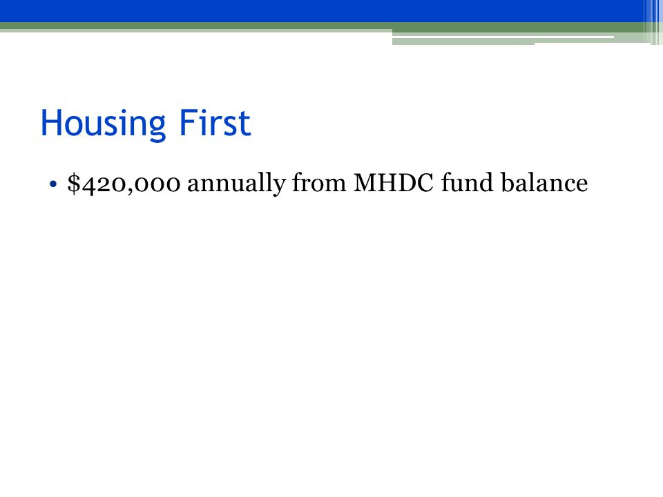 Housing First $420,000 annually from MHDC fund balance