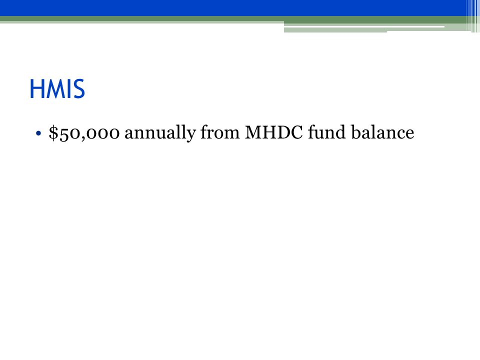 HMIS $50,000 annually from MHDC fund balance