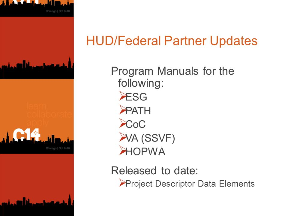 HUD/Federal Partner Updates Program Manuals for the following:  ESG  PATH  CoC  VA (SSVF)  HOPWA Released to date:  Project Descriptor Data Elements