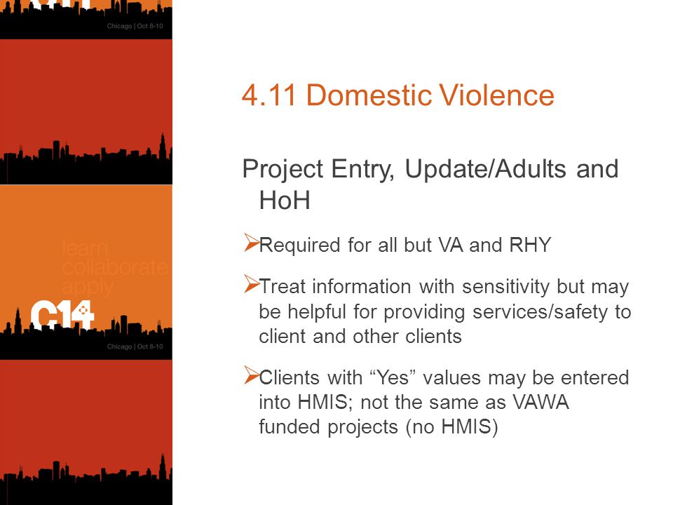 4.11 Domestic Violence Project Entry, Update/Adults and HoH  Required for all but VA and RHY  Treat information with sensitivity but may be helpful for providing services/safety to client and other clients  Clients with Yes values may be entered into HMIS; not the same as VAWA funded projects (no HMIS)