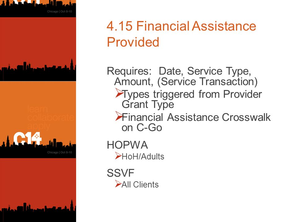 4.15 Financial Assistance Provided Requires: Date, Service Type, Amount, (Service Transaction)  Types triggered from Provider Grant Type  Financial Assistance Crosswalk on C-Go HOPWA  HoH/Adults SSVF  All Clients