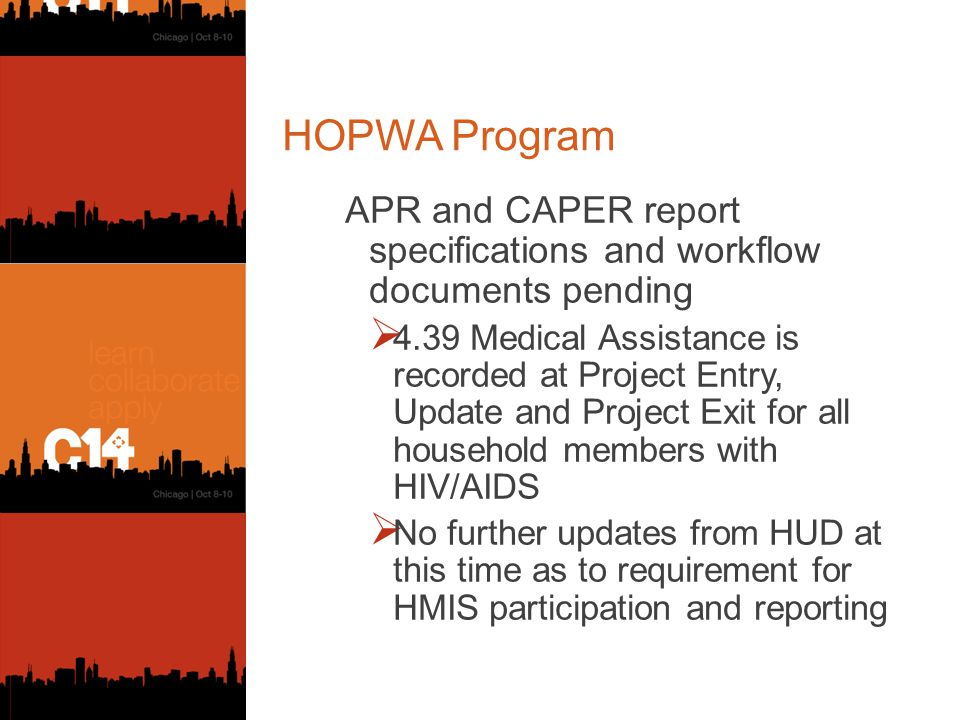 HOPWA Program APR and CAPER report specifications and workflow documents pending  4.39 Medical Assistance is recorded at Project Entry, Update and Project Exit for all household members with HIV/AIDS  No further updates from HUD at this time as to requirement for HMIS participation and reporting