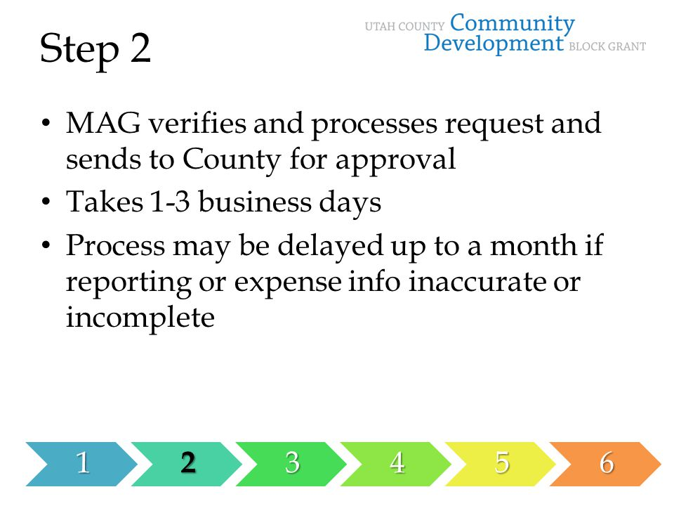 Step 2123456 MAG verifies and processes request and sends to County for approval Takes 1-3 business days Process may be delayed up to a month if reporting or expense info inaccurate or incomplete