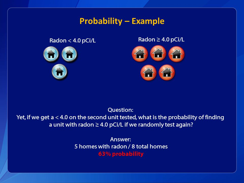 Probability – Example Radon ≥ 4.0 pCi/L Radon < 4.0 pCi/L Question: Yet, if we get a < 4.0 on the second unit tested, what is the probability of finding a unit with radon ≥ 4.0 pCi/L if we randomly test again.