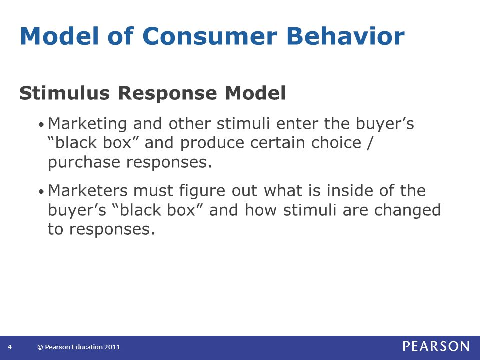 """Model of Consumer Behavior Stimulus Response Model Marketing and other stimuli enter the buyer's """"black box"""" and produce certain choice / purchase res"""