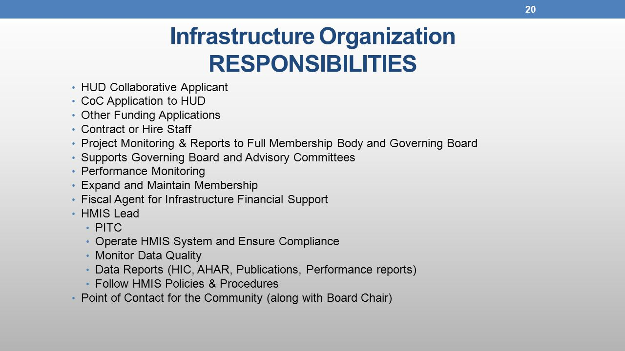 Infrastructure Organization RESPONSIBILITIES HUD Collaborative Applicant CoC Application to HUD Other Funding Applications Contract or Hire Staff Project Monitoring & Reports to Full Membership Body and Governing Board Supports Governing Board and Advisory Committees Performance Monitoring Expand and Maintain Membership Fiscal Agent for Infrastructure Financial Support HMIS Lead PITC Operate HMIS System and Ensure Compliance Monitor Data Quality Data Reports (HIC, AHAR, Publications, Performance reports) Follow HMIS Policies & Procedures Point of Contact for the Community (along with Board Chair) 20
