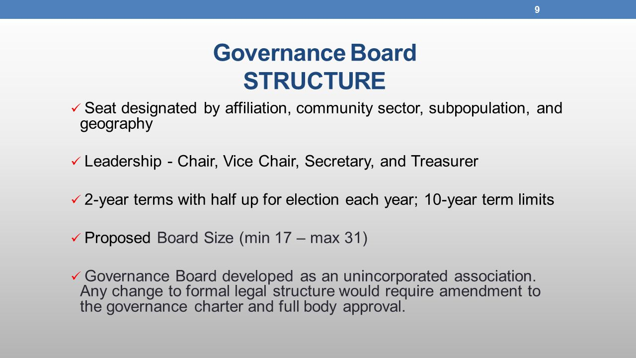 Governance Board STRUCTURE Seat designated by affiliation, community sector, subpopulation, and geography Leadership - Chair, Vice Chair, Secretary, and Treasurer 2-year terms with half up for election each year; 10-year term limits Proposed Board Size (min 17 – max 31) Governance Board developed as an unincorporated association.