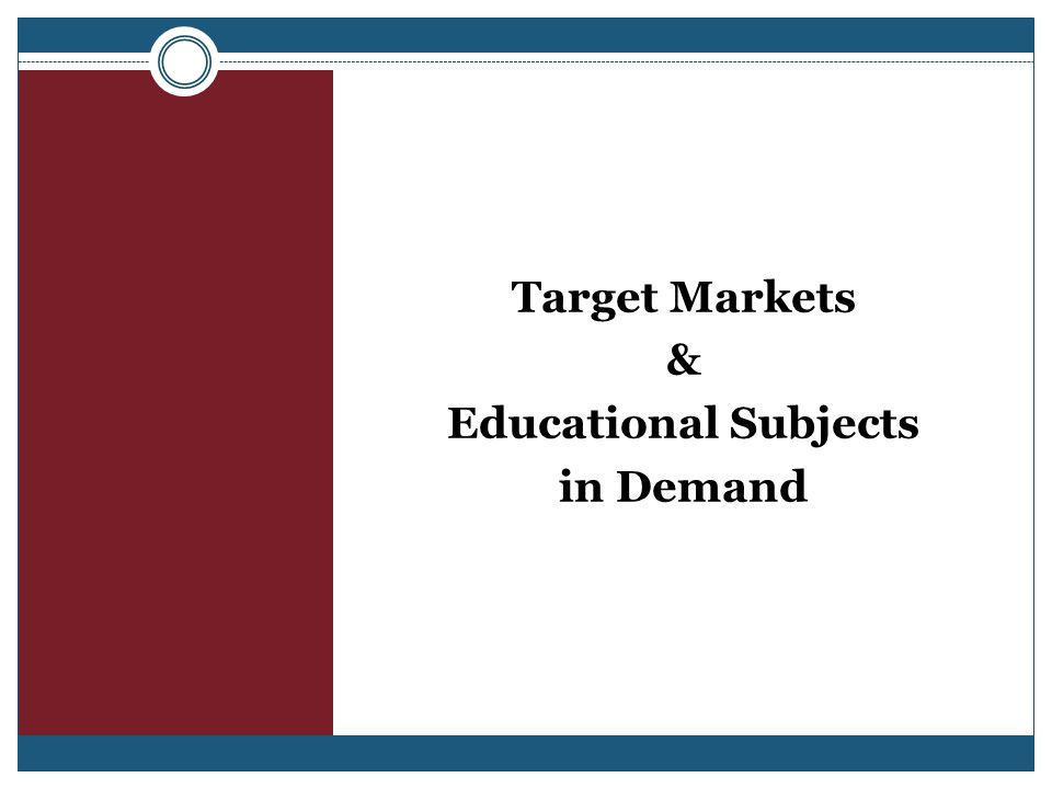 Target Markets & Educational Subjects in Demand