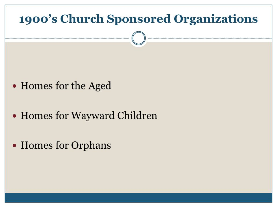 1900's Church Sponsored Organizations Homes for the Aged Homes for Wayward Children Homes for Orphans