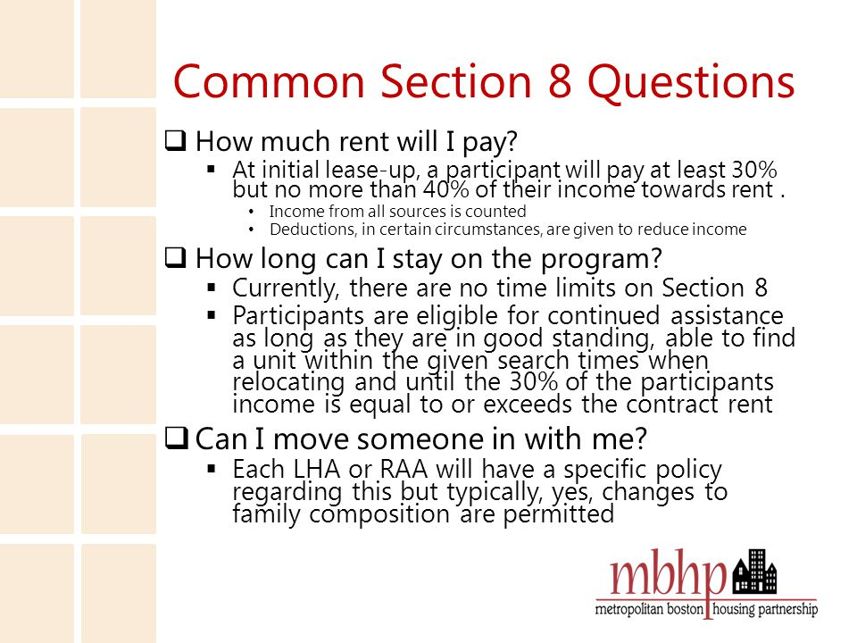 Common Section 8 Questions  How much rent will I pay.