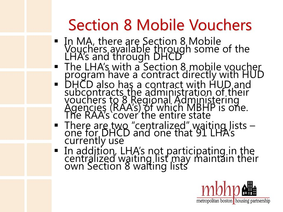 Section 8 Mobile Voucher Waiting List Options LHA Lists  http://section8listmass.