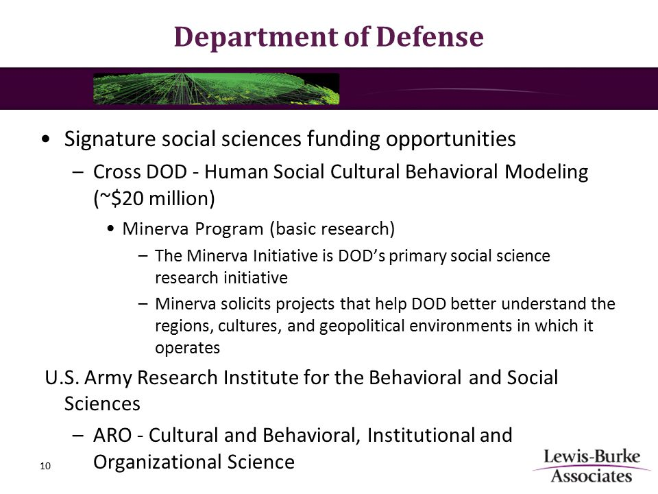 Department of Defense Signature social sciences funding opportunities –Cross DOD - Human Social Cultural Behavioral Modeling (~$20 million) Minerva Program (basic research) –The Minerva Initiative is DOD's primary social science research initiative –Minerva solicits projects that help DOD better understand the regions, cultures, and geopolitical environments in which it operates U.S.