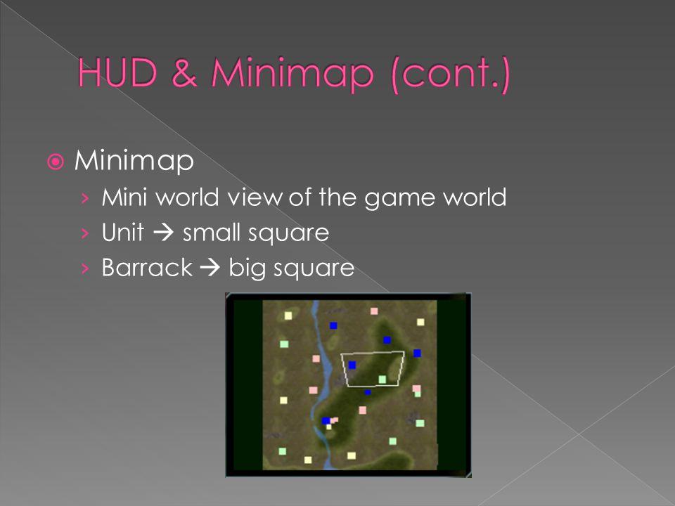  Minimap › Mini world view of the game world › Unit  small square › Barrack  big square