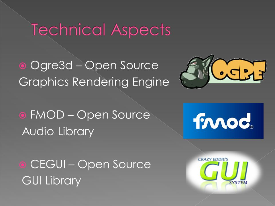  Ogre3d – Open Source Graphics Rendering Engine  FMOD – Open Source Audio Library  CEGUI – Open Source GUI Library