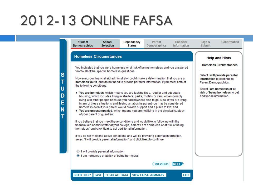 2012-13 ONLINE FAFSA