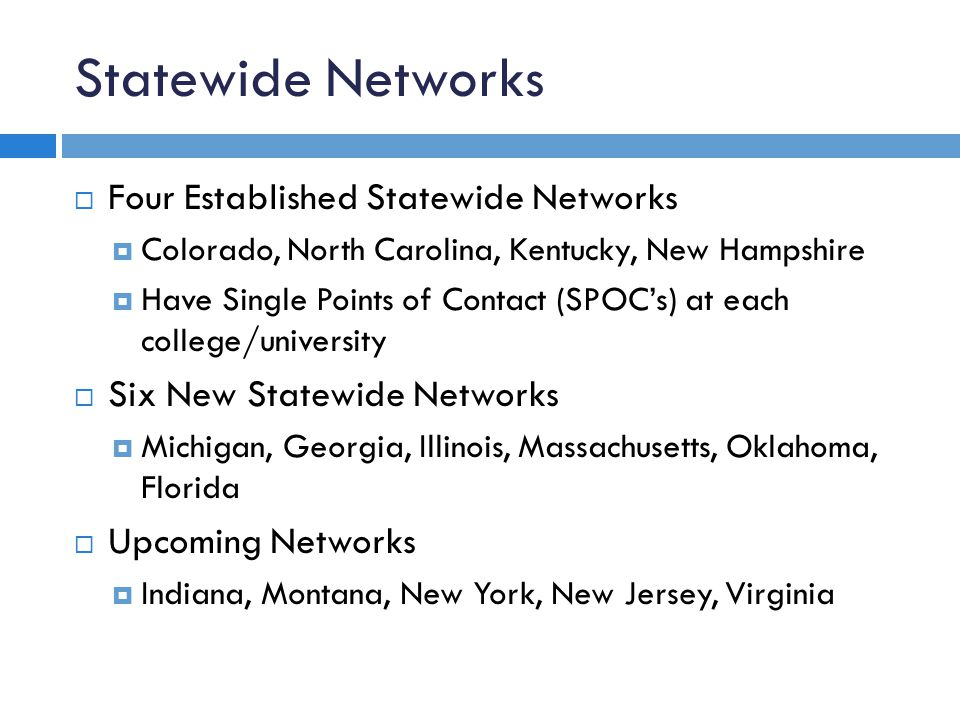 Statewide Networks  Four Established Statewide Networks  Colorado, North Carolina, Kentucky, New Hampshire  Have Single Points of Contact (SPOC's) at each college/university  Six New Statewide Networks  Michigan, Georgia, Illinois, Massachusetts, Oklahoma, Florida  Upcoming Networks  Indiana, Montana, New York, New Jersey, Virginia