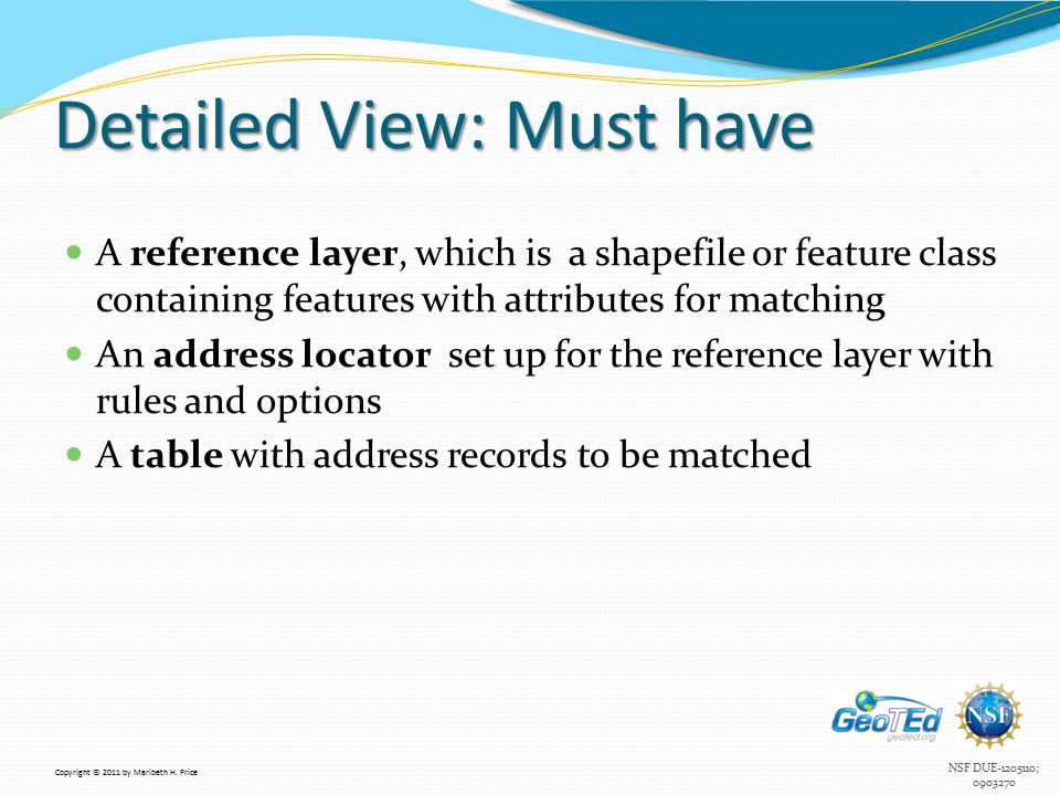NSF DUE-1205110; 0903270 Detailed View: Must have A reference layer, which is a shapefile or feature class containing features with attributes for matching An address locator set up for the reference layer with rules and options A table with address records to be matched Copyright © 2011 by Maribeth H.