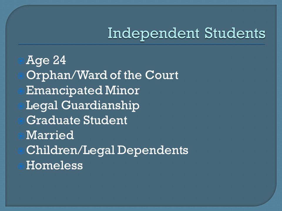  Legal guardian not required to submit financial information for FAFSA  Legal guardian not personally liable for ward's expenses/debts
