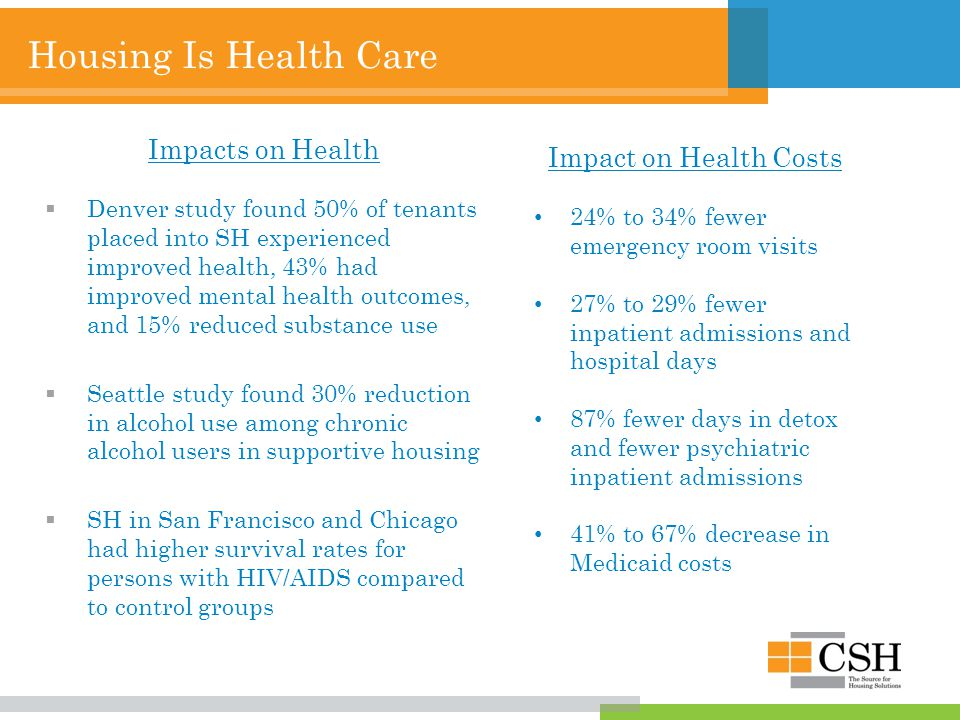 Housing Is Health Care Impacts on Health  Denver study found 50% of tenants placed into SH experienced improved health, 43% had improved mental health outcomes, and 15% reduced substance use  Seattle study found 30% reduction in alcohol use among chronic alcohol users in supportive housing  SH in San Francisco and Chicago had higher survival rates for persons with HIV/AIDS compared to control groups Impact on Health Costs 24% to 34% fewer emergency room visits 27% to 29% fewer inpatient admissions and hospital days 87% fewer days in detox and fewer psychiatric inpatient admissions 41% to 67% decrease in Medicaid costs