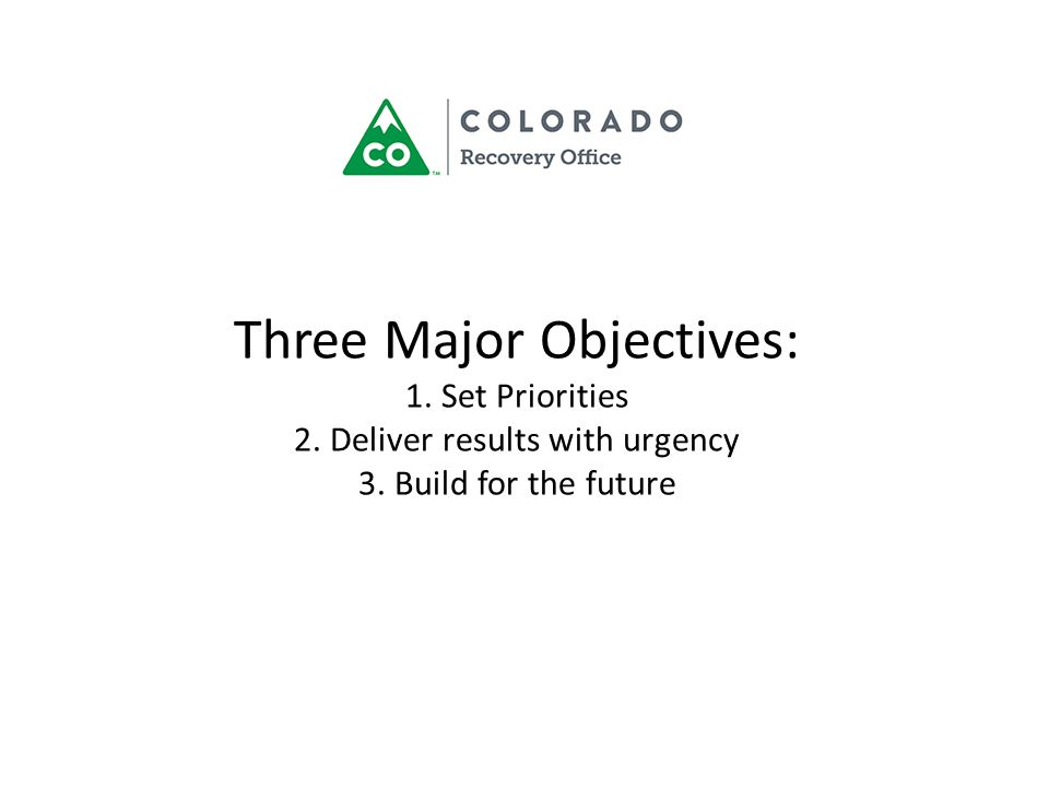 Three Major Objectives: 1. Set Priorities 2. Deliver results with urgency 3. Build for the future