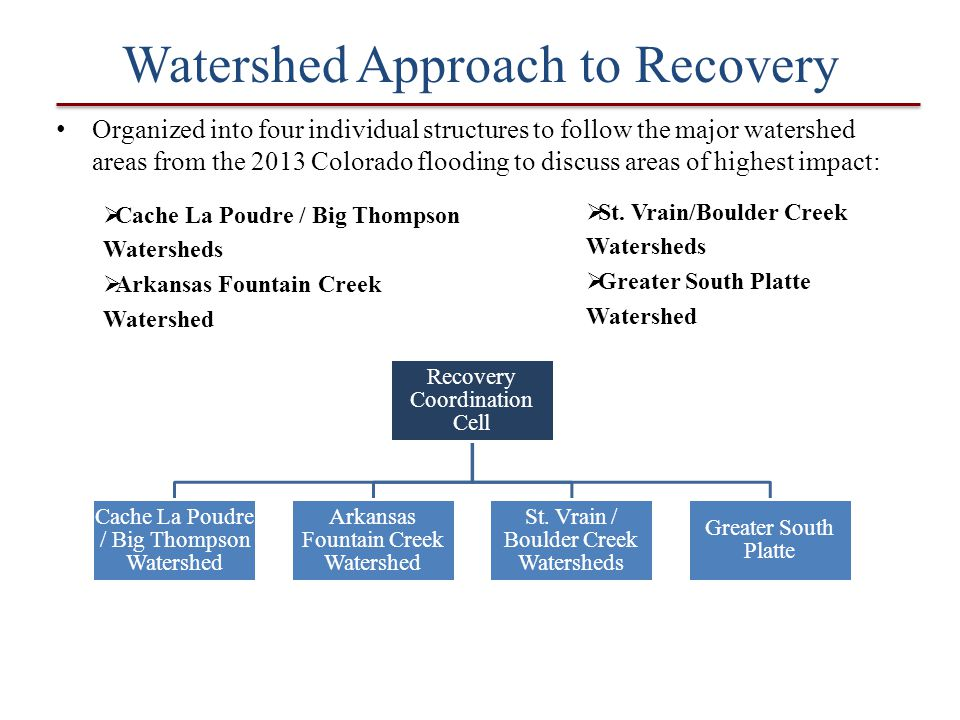 Watershed Approach to Recovery Organized into four individual structures to follow the major watershed areas from the 2013 Colorado flooding to discus
