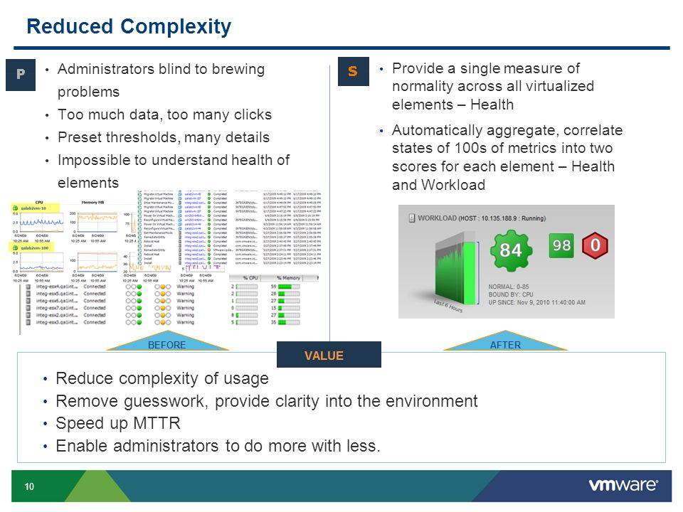 10 Slide 10 Reduced Complexity Administrators blind to brewing problems Too much data, too many clicks Preset thresholds, many details Impossible to understand health of elements Reduce complexity of usage Remove guesswork, provide clarity into the environment Speed up MTTR Enable administrators to do more with less.