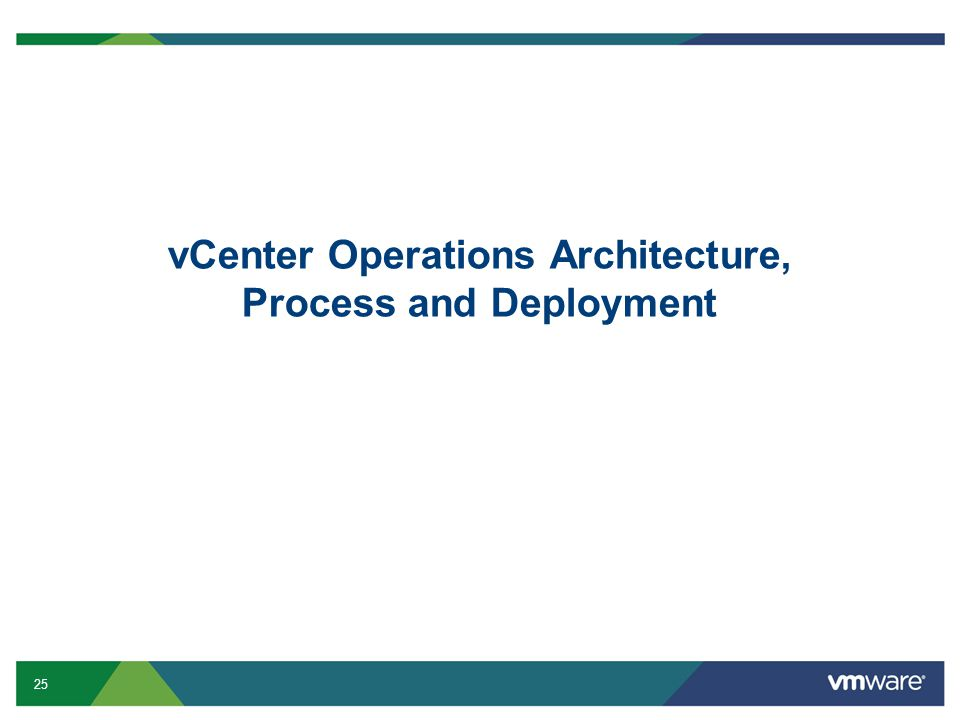 25 vCenter Operations Architecture, Process and Deployment