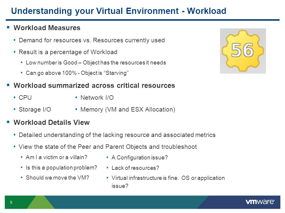 5 Understanding your Virtual Environment - Workload  Workload Measures Demand for resources vs.
