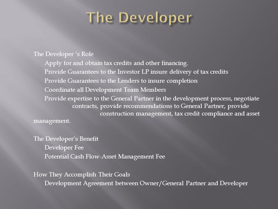 The Developer 's Role Apply for and obtain tax credits and other financing.