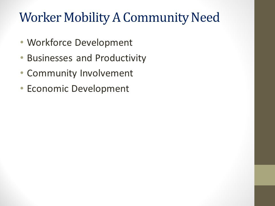 Worker Mobility A Community Need Workforce Development Businesses and Productivity Community Involvement Economic Development