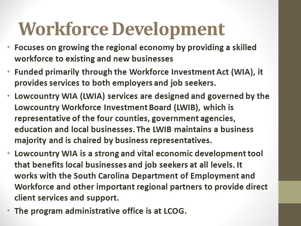 Workforce Development Focuses on growing the regional economy by providing a skilled workforce to existing and new businesses Funded primarily through