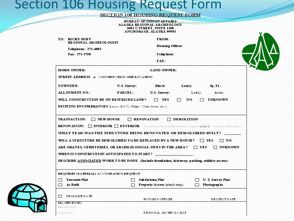 Section 106 Housing Request Form