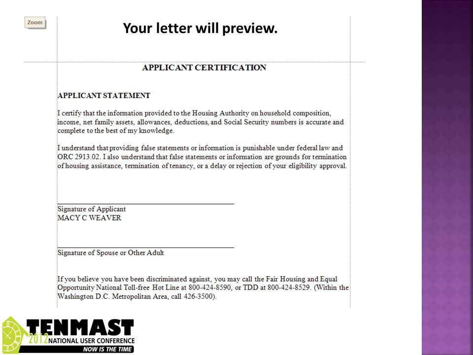 Your letter will preview.