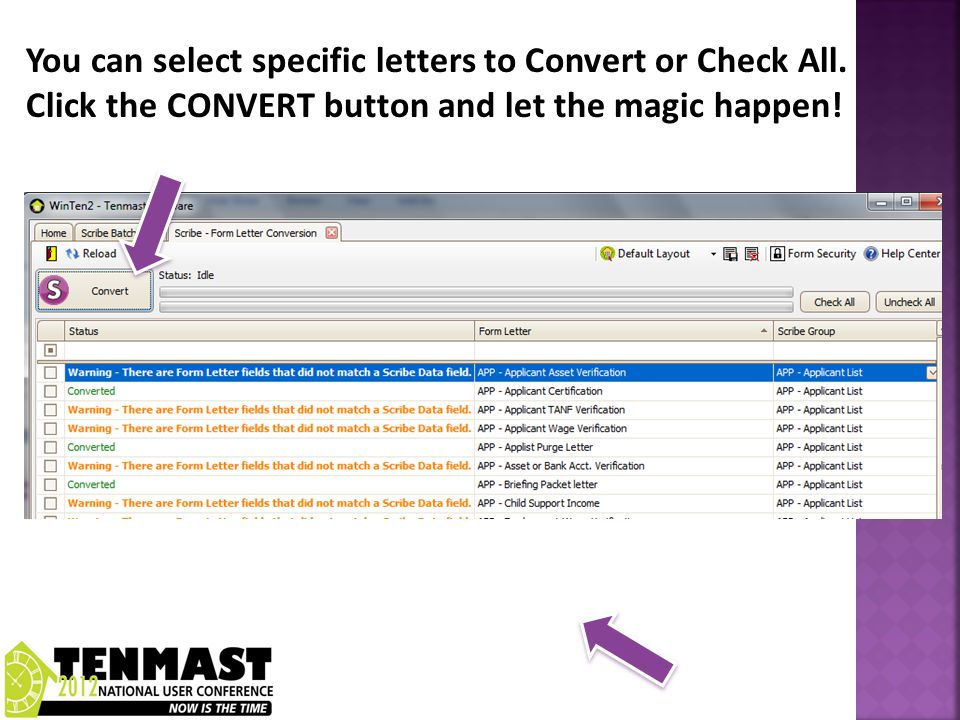 You can select specific letters to Convert or Check All.