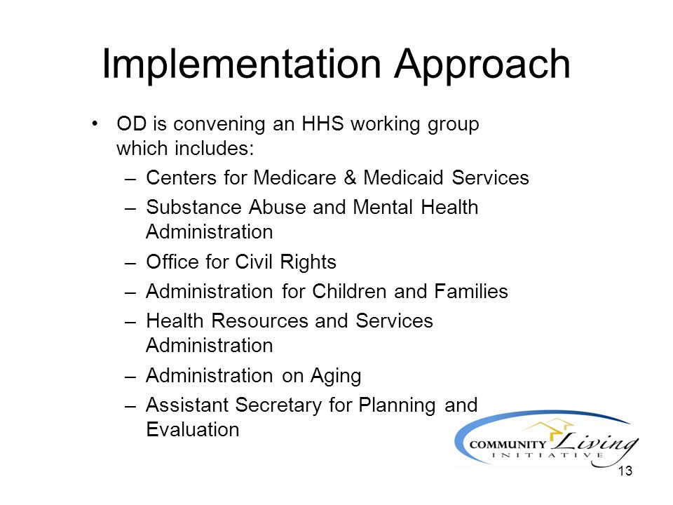 13 Implementation Approach OD is convening an HHS working group which includes: –Centers for Medicare & Medicaid Services –Substance Abuse and Mental