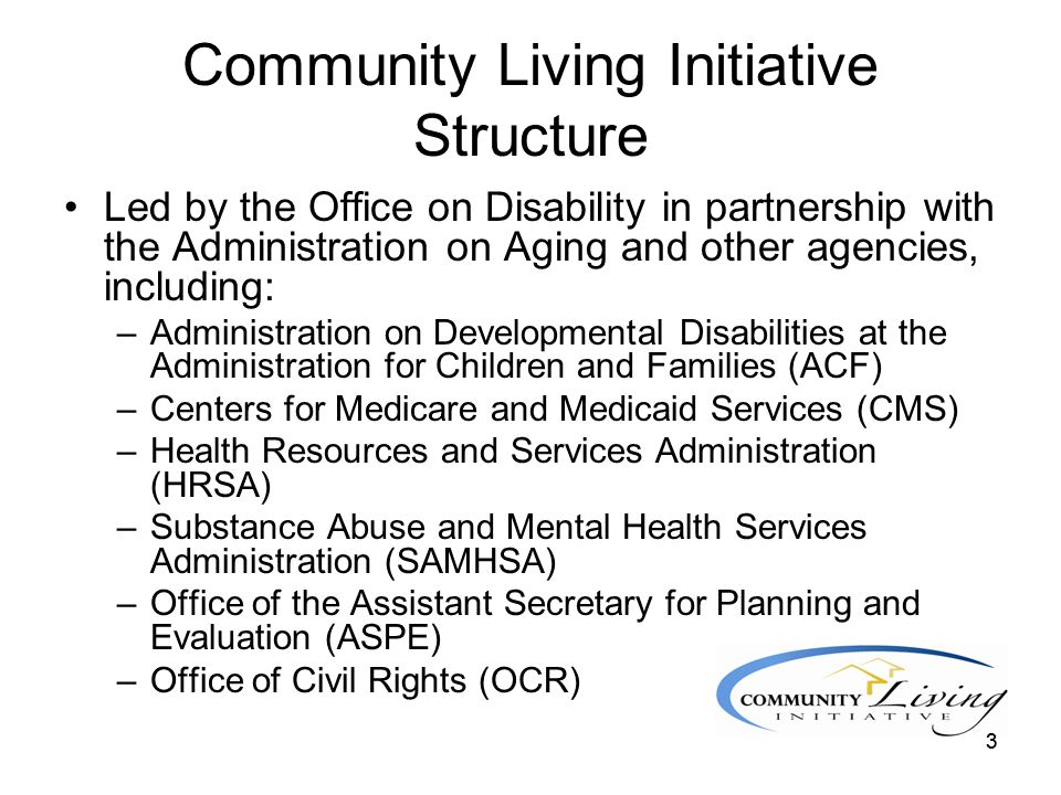4 Community Living Initiative Structure Organized around a number of workgroups including: –Housing –Workforce –Services and Supports –Data/Quality –Communication