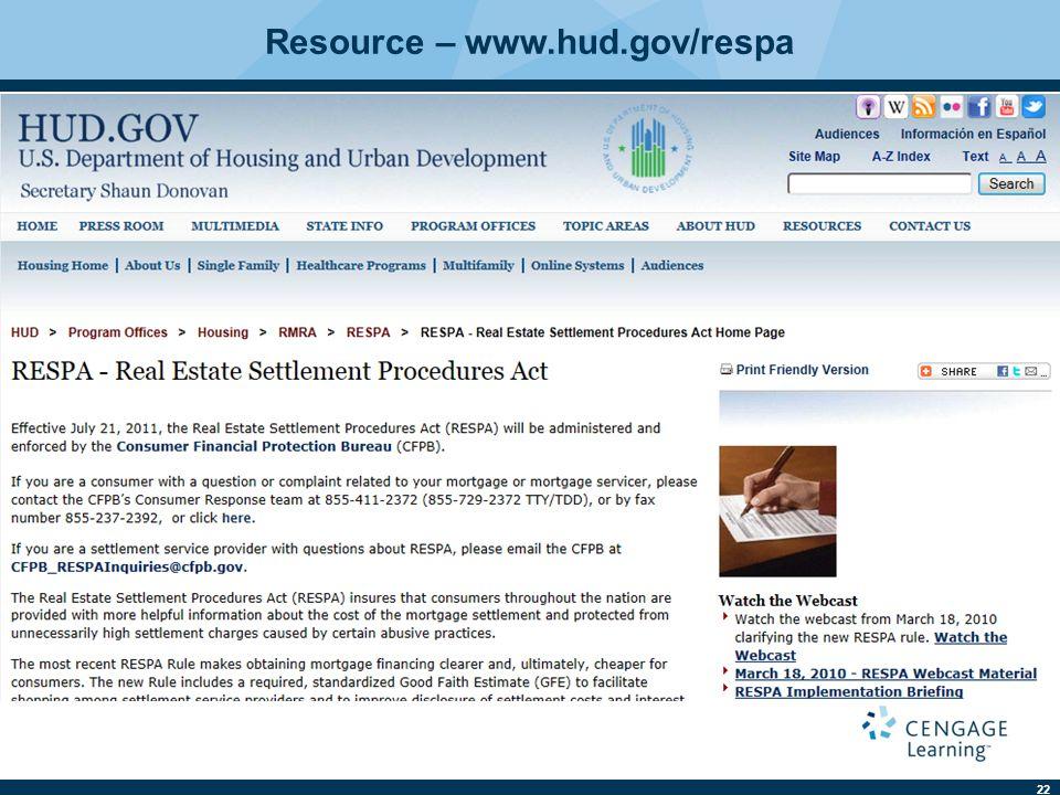 22 Resource – www.hud.gov/respa