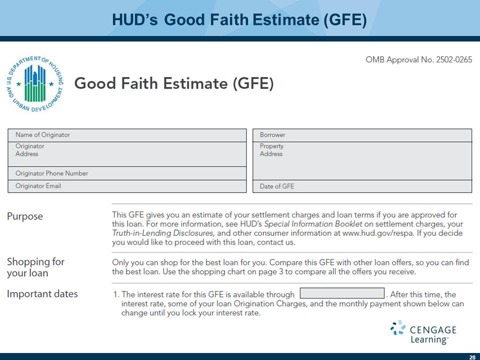 28 HUD's Good Faith Estimate (GFE)