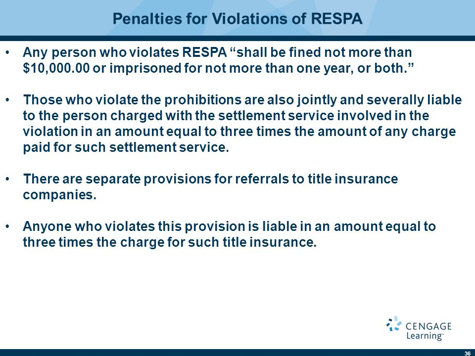 "36 Penalties for Violations of RESPA Any person who violates RESPA ""shall be fined not more than $10,000.00 or imprisoned for not more than one year, o"