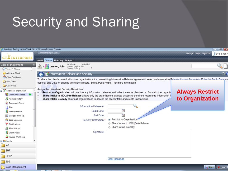 Security and Sharing Always Restrict to Organization 25