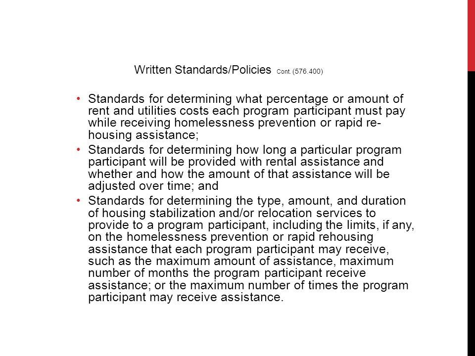 Standards for determining what percentage or amount of rent and utilities costs each program participant must pay while receiving homelessness prevent
