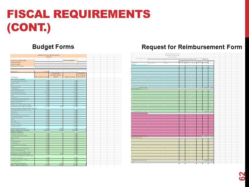 FISCAL REQUIREMENTS (CONT.) 62 Budget Forms Request for Reimbursement Form
