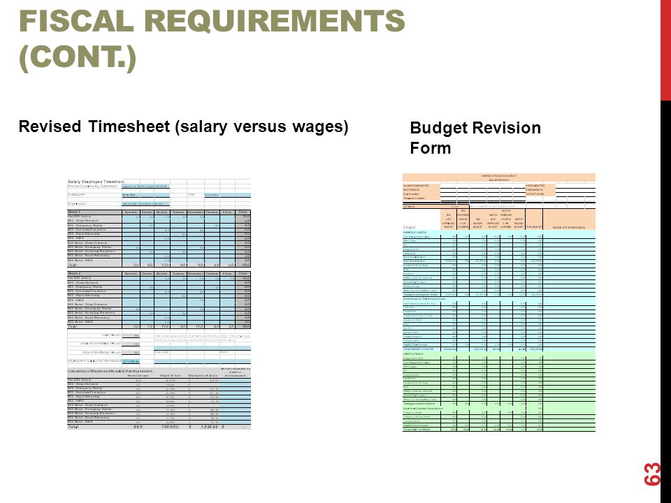 FISCAL REQUIREMENTS (CONT.) 63 Revised Timesheet (salary versus wages) Budget Revision Form