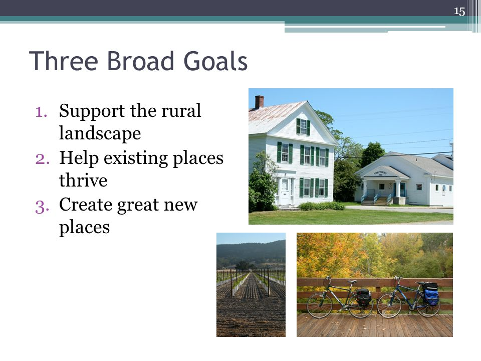 Three Broad Goals 1.Support the rural landscape 2.Help existing places thrive 3.Create great new places 15