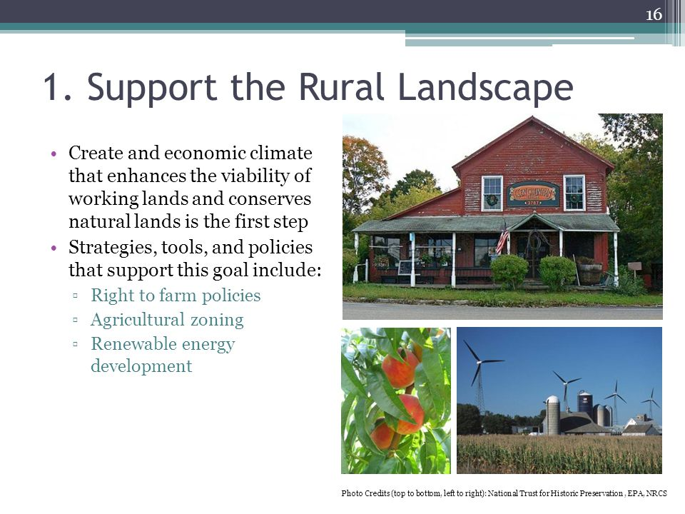 1. Support the Rural Landscape Create and economic climate that enhances the viability of working lands and conserves natural lands is the first step